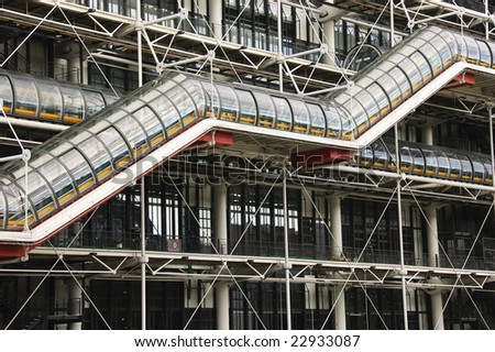 Detail of Pompidou Center outside section