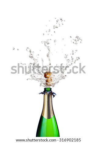 detail of popping champagne on white background - stock photo