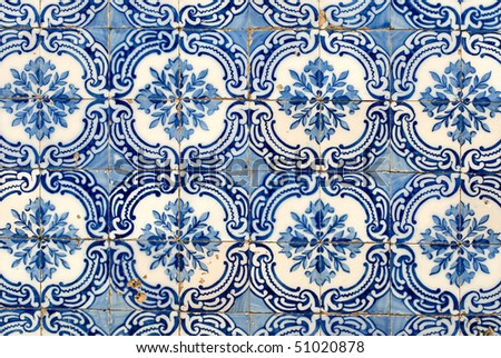 Detail of Portuguese glazed tiles.