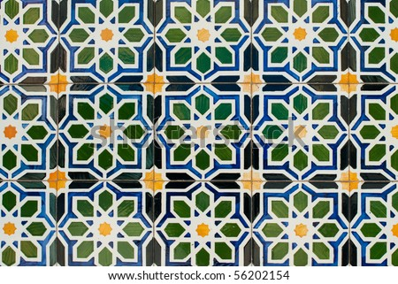 Detail of Portuguese glazed tiles. - stock photo