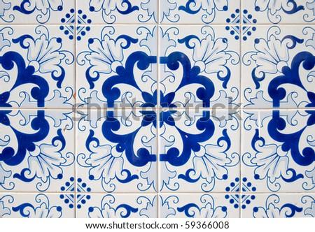 Detail of Portuguese glazed tiles. - stock photo