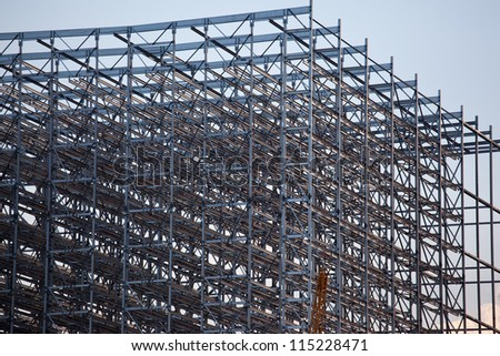Detail of rack steel construction - stock photo
