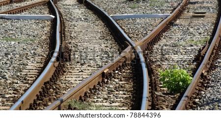 Detail of railway railroad tracks for train - stock photo