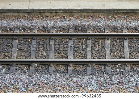 Detail of Railway railroad tracks for trains - stock photo
