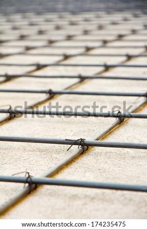 detail of reinforced concrete,floor construction - stock photo