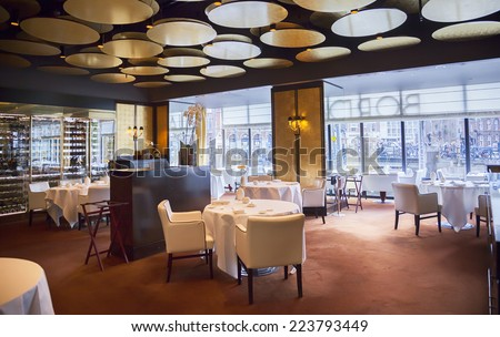detail of restaurant interior in Amsterdam hotel ( Le Europe)  - stock photo
