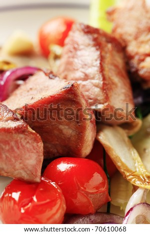 Detail of roasted meat on a skewer - stock photo