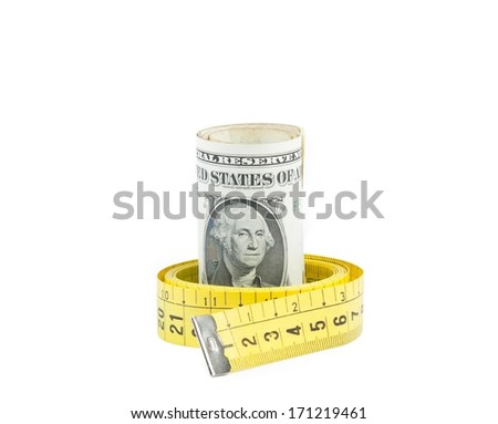 detail of rolled up dollars inside measure tape with space for text on white background, concept for business and save money - stock photo