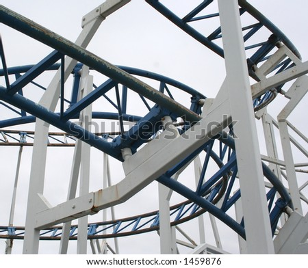 Detail of Rollercoaster Track - stock photo