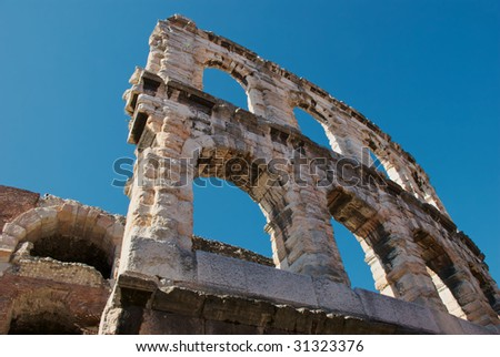 Detail of Roman amphitheatre in Verona - stock photo