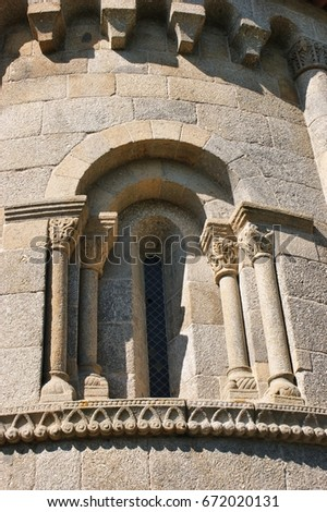 Detail of romanesque monastery of Sao Pedro de Ferreira in Pacos de Ferreira, north of Portugal