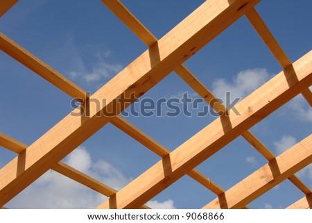 Detail of roof in house  under construction - stock photo