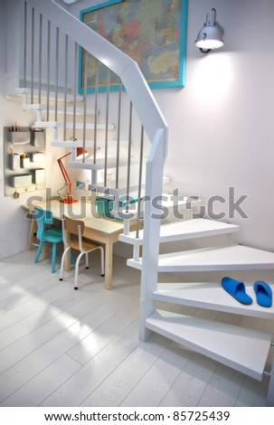 detail of room with child table - stock photo