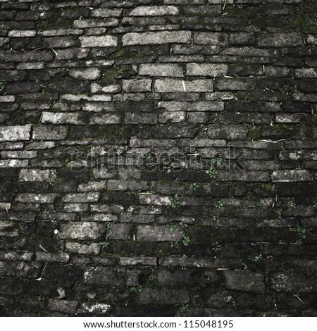 detail of rough brick wall. - stock photo