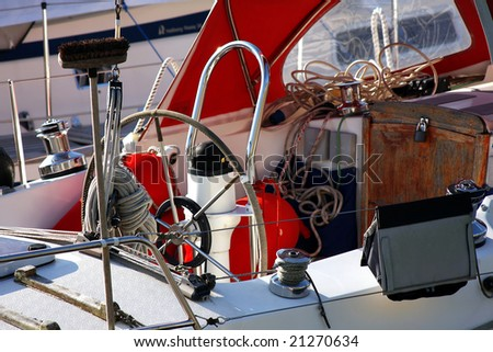 detail of sailing yacht - stock photo