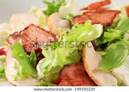 detail of salad with lettuce, chicken and bacon - stock photo