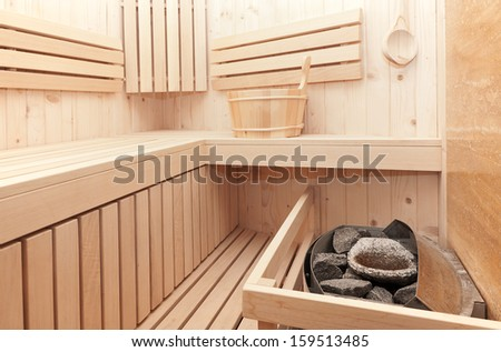 detail of sauna oven - stock photo