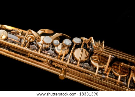 Detail of saxophone keys made of nacre. - stock photo