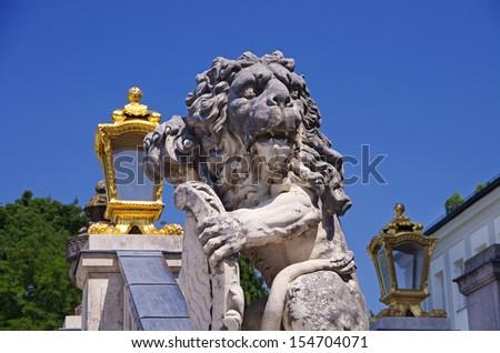 detail of schloss? nympenburg, nympenburg castle, bavarian lion - stock photo