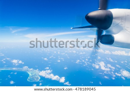 Detail of sea plane engine above Maldives islands