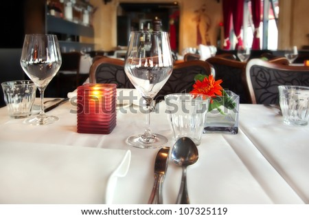 detail of served table in restaurant - stock photo