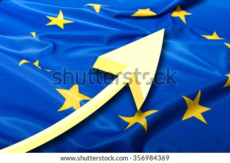 Detail of Silky Flag of Blue European Union EU Flag Drapery and Arrow - stock photo