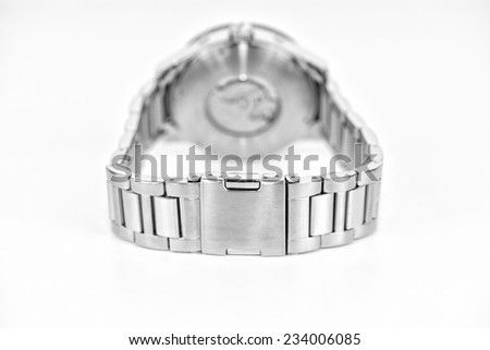 Detail of silver wristwatch - stock photo