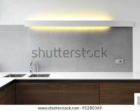 detail of sink in a modern kitchen - stock photo