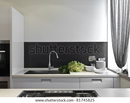detail of sink with vegetables on the top in the modern kitchen - stock photo