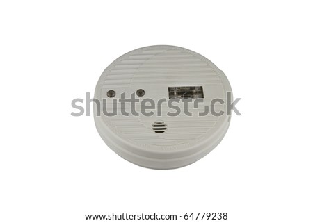 Detail of smoke alarm isolated on white. - stock photo