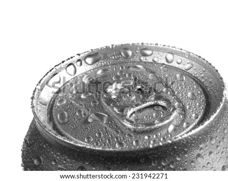 Detail of soda can with water drops for freshness and refreshment - stock photo