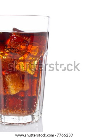 Detail of soda with ice cubes glass, reflected on white background