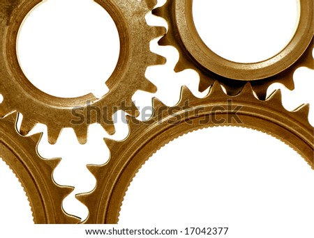 detail of some golden gear representing teamwork in a business - stock photo