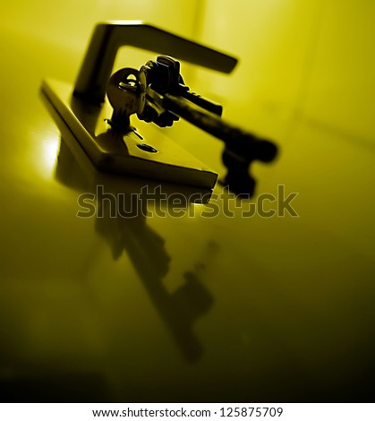 Detail of some keys and a locked secure front-door. - stock photo