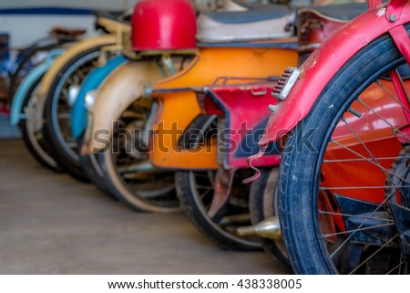 Detail of some old classic motorcycle.  - stock photo