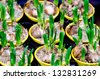 Detail of some potted bulbs in a nursery. - stock photo