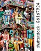 Detail of Sri Mariamman temple in Singapore - stock photo