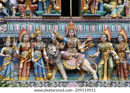 Detail of Sri Mariamman temple in Singapore - stock photo
