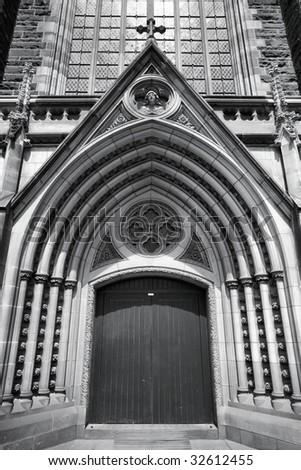 Detail of St. Patrick's Cathedral in Melbourne, Victoria, Australia. Roman Catholic church. - stock photo