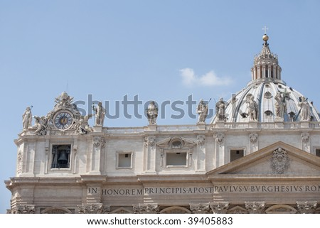 Detail of St Peters Basilica, Vatican City, Rome, Italy - stock photo