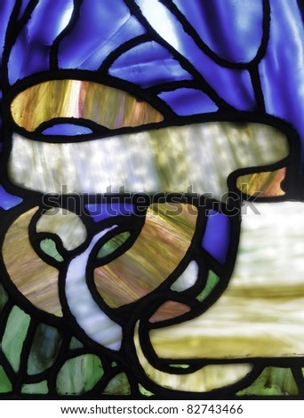 Detail of stained glass window - stock photo