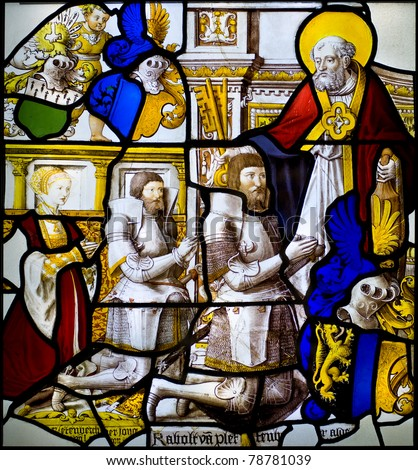 Detail of stained glass window in a church.