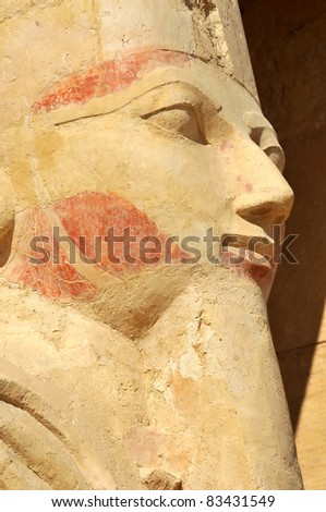 Detail of statue of  Queen Hatshepsut at Thebes in Egypt - stock photo