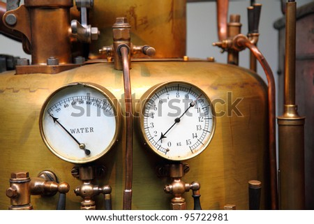 detail of steam engine - stock photo
