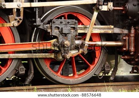 Detail of steam engine wheel mechanism - stock photo