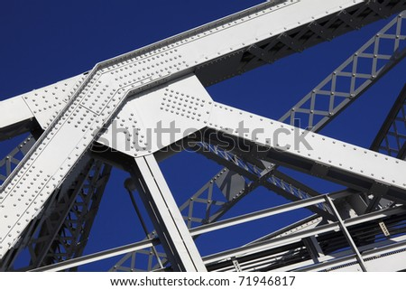 Detail of steel girders and rivets. - stock photo