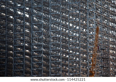Detail of steel members rack construction - stock photo