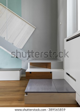 detail of steps of a modern staircase in the apartment