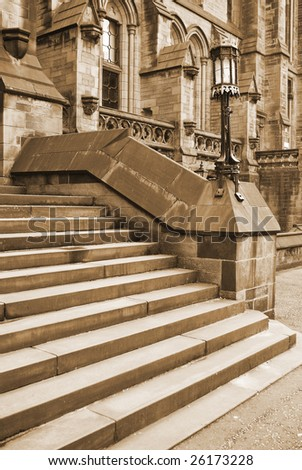 Detail of steps outside ancient building in Glasgow Scotland UK