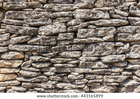 Detail of stone wall in the village of Bories, Gordes, Provence-Alpes-Cote d'Azur, France